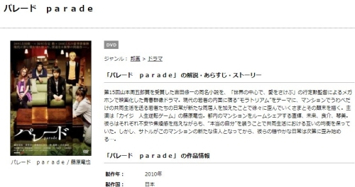 映画 パレード paradeの無料動画をフル配信で無料視聴