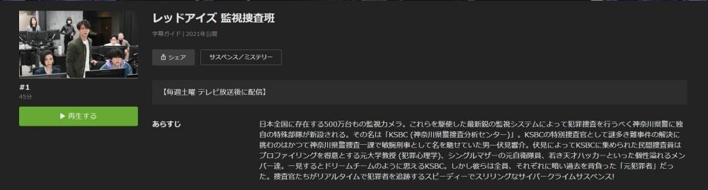 ドラマ見逃し レッドアイズ 監視捜査班の1話〜全話無料視聴配信まとめ