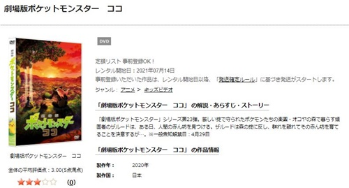 劇場版ポケットモンスター ココのアニメ無料動画をフル配信で無料視聴