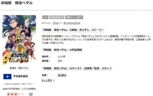 劇場版 弱虫ペダルのアニメ無料動画